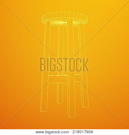 Bar stool furniture wireframe blueprint. Linear outline vector illustration. Bar chair. High chair. Bar interior design.