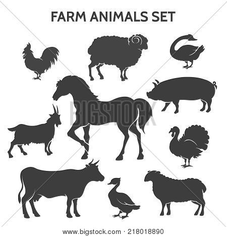 Farm animals silhouettes. Farmyard livestock animal set like horse and cow, goose and turkey, pig and goat isolated on white background, vector icons poster