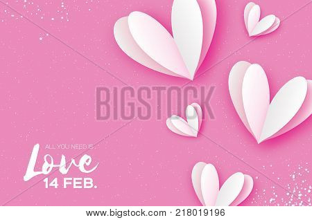 Origami Happy Valentine's day. Flying Love White Hearts in paper cut style. Romantic Holidays. Pink background. All you need is Love. 14 February. Vector.