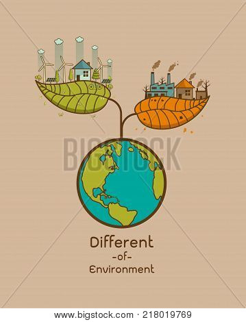 The different of Environmentally landscape factory and forest green earth- ecology concept green information with ecology and green city of energy saving or clean energy with green collection.