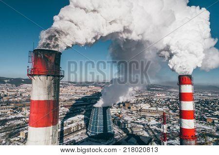 power station plant coal pollution chimney smoke