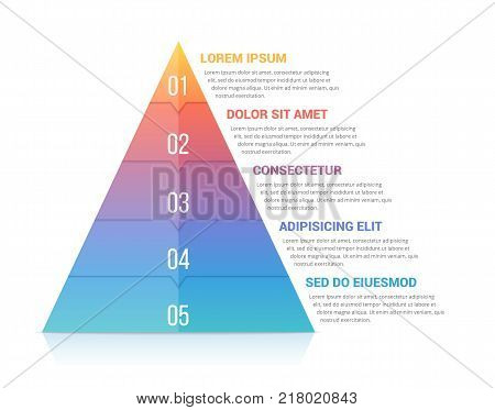 Pyramid infographic template with five elements, soft gradient colors, vector eps10 illustration