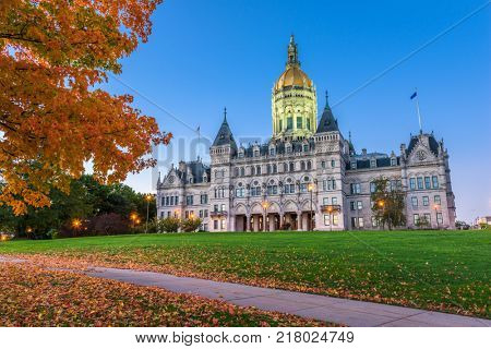 Connecticut State Capitol in Hartford, Connecticut, USA during autumn.