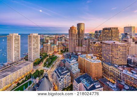 Boston, Massachusetts, USA downtown cityscape at dusk.
