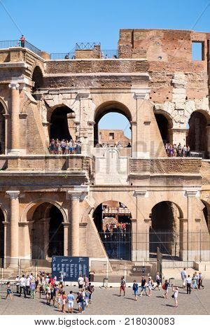 ROME,ITALY - JULY 18,2017 :The ruins of the Colosseum in Rome