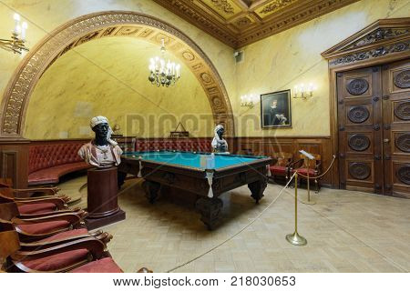 ST. PETERSBURG, RUSSIA - AUGUST 30, 2017: Interior of Turkish study in Yusupov palace used as billiards room. The palace is acclaimed as the Encyclopedia of St. Petersburg aristocratic interior