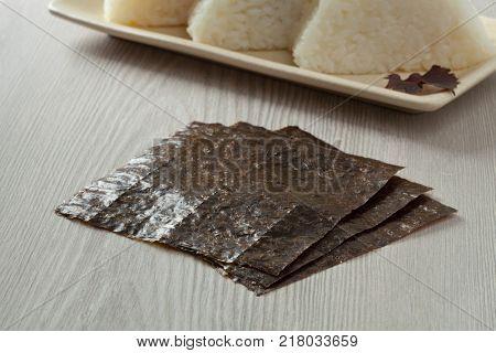 Japanese seaweed sheets, nori, to prepare onigiri