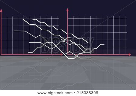 The economic background. Illustration for Economics and business. Graphs, curves, indicators