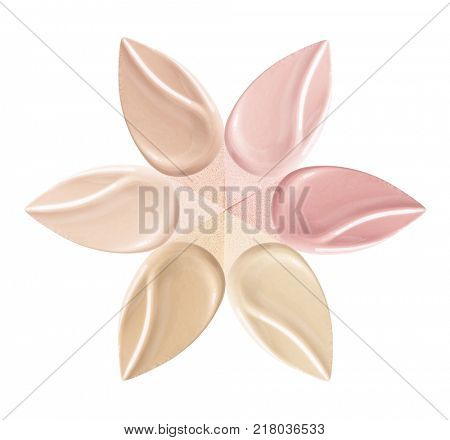 Applicator for a foundation with different colors.Cosmetic sponge. Isolated on white background