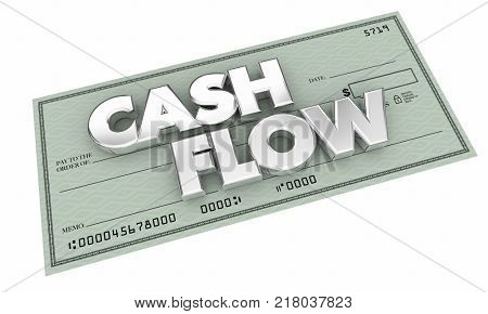 Cashflow Income Check Cash Flow Words 3d Illustration