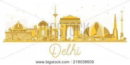 Delhi India City skyline golden silhouette. Business travel concept. Delhi Cityscape with landmarks.