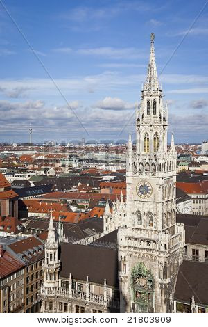 An image of the city hall of Munich Bavaria Germany