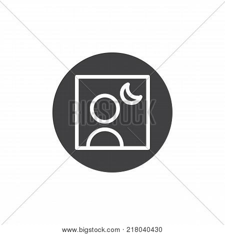 Camera night mode icon vector, filled flat sign, solid pictogram isolated on white. Photo camera settings symbol, logo illustration.