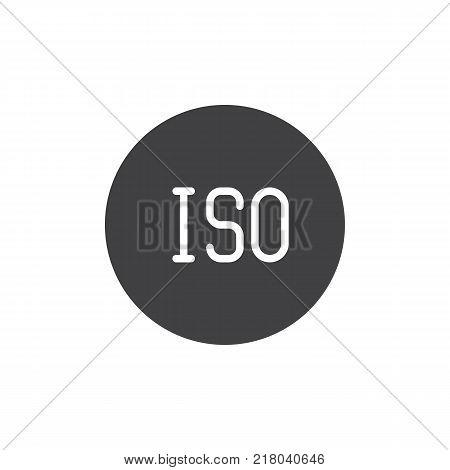 ISO sensitivity photo camera mode icon vector, filled flat sign, solid pictogram isolated on white. Symbol, logo illustration