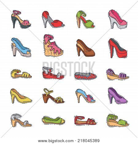 Woman shoes vector girls fashion heeled boots footwear design leather colored heel shoe set illustration isolated on white background.