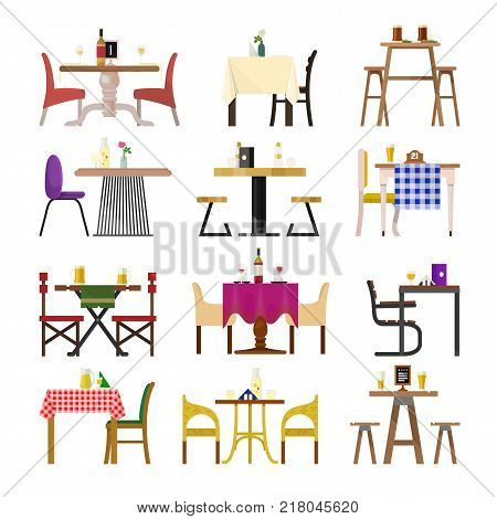 Cafe tables in restaurant setting vector dining furniture table and chair for romantic lunch dinner date in cafeteria illustration isolated on white background.