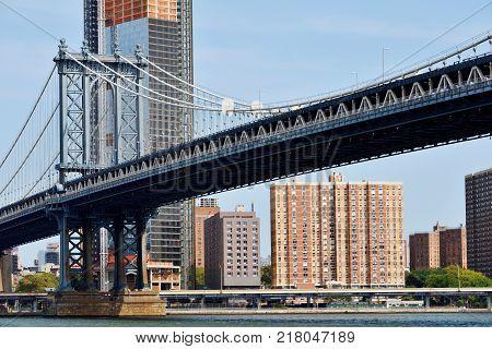 NEW YORK CITY - AUG. 27: Manhattan Bridge on August 27 2017 in New York City NY. The Manhattan Bridge is a suspension bridge that crosses the East River in New York City.
