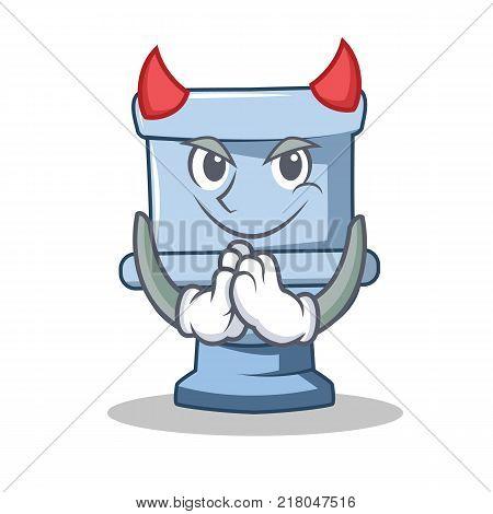 Devil toilet character cartoon style vector illustration