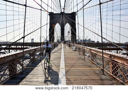 NEW YORK CITY - AUG. 27: Brooklyn Bridge on August 27 2017 in New York City NY. The Brooklyn Bridge is one of the oldest bridges in the United States.