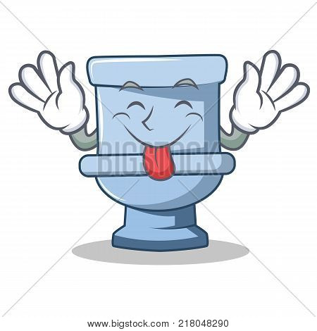 Tongue out toilet character cartoon style vector illustration