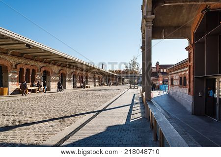 Madrid, Spain - December 6, 2017: Outdoor view of Matadero Art Center in Madrid. The slaughterhouse and livestock market of Arganzuela has been transformed into a contemporary art center