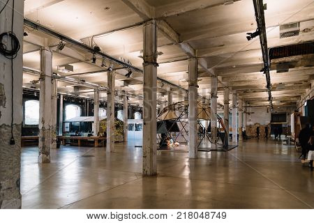 Madrid, Spain - December 6, 2017: Interior view of Matadero Art Center in Madrid. The slaughterhouse and livestock market of Arganzuela has been transformed into a contemporary art center