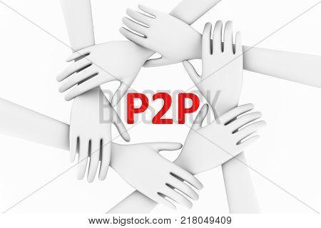 P2P concept hands white background 3d illustration