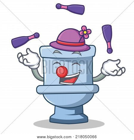 Juggling toilet character cartoon style vector illustration