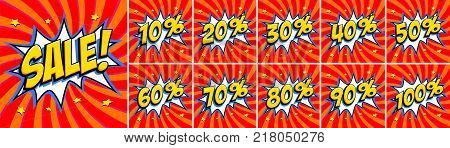 Big red sale set. Sale inscription and all percent numbers. Yellow and red colors. Pop-art comics style web banners, flash animation, stickers, tags. Vector illustration