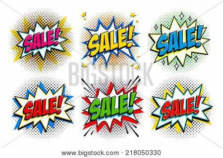 Sale set. Comic style pop art template banners. 6 Sale inscriptions on comics bang shapes and halftones. Pop-art comics style web banners, flash animation, tag, sticker. Vector illustration