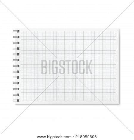 Horizontal vector realistic graph ruled notebook. Notepad with blank quad paper on metallic ring spiral binder organizer mockup or template for your design