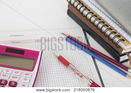 notebook planner account memo for work business on table white