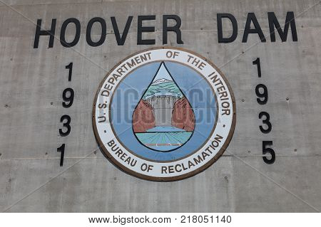 NEVADA, USA - June 30, 2017: Wall Sign at the Hoover Dam. The Sign shows the Start and Completion Date of Construction