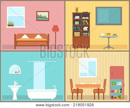 furnishing interior rooms on home. interior view house rooms for furnishing concept.
