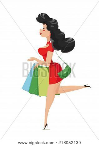 Shopping. Girl with bags. Isolated white background. Eps10 vector illustration.