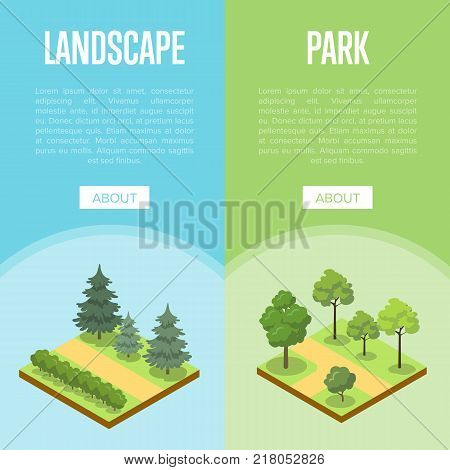 Park landscape design isometric posters. Public parkland zone with decorative plants, outdoor natural area recreation vector illustration. Green alley 3d model with grass, bushes and trees.