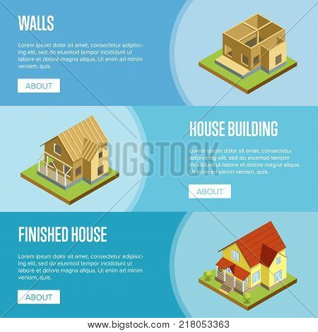 House framework, construction of walls, roof installation and finishing isometric vector illustration. Architectural engineering, construction stages of countryside house, building and development set