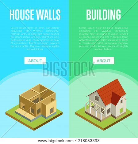 Construction of house walls, roof installation and siding isometric 3d vector illustration. Architectural engineering, construction stages of countryside house, real estate building and development