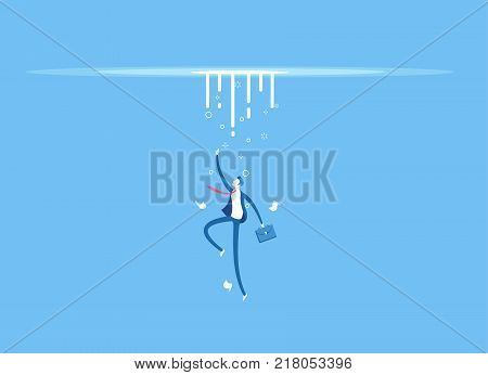 Businessman in danger the worker drowns and goes to the bottom. Employee falls down. Business concept crisis decline and failure vector illustration