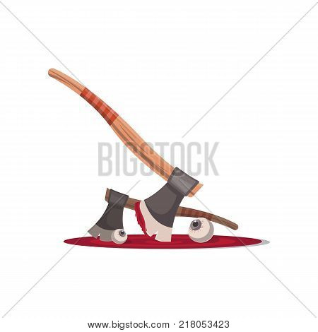 Bloody executioner ax cartoon icon. Halloween party symbol, festive horror event object isolated vector illustration.
