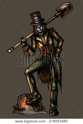 Illustration gravedigger in victorian ragged clothes and top-hut. He leans on a gravestone