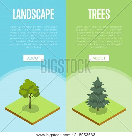 Natural landscape design isometric posters. Public parkland zone with decorative plants, outdoor summer park recreation vector illustration. Natural green grass and trees 3d elements.