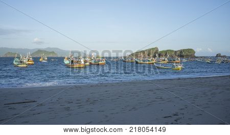 INDONESIA:Traditional fisherman boat at offshore of Tanjung Papuma Beach, Jember,Surabaya,East Java.