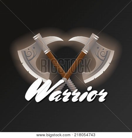 Warrior game element with crossed tomahawks. Shiny medieval weapon for computer game design. Confrontation versus sign, fight opposition concept, epic battle competition vector illustration.
