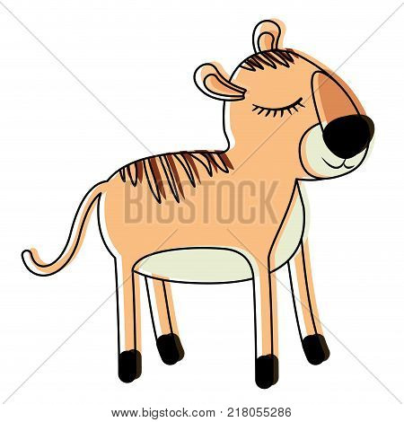 female tiger cartoon with closed eyes expression in watercolor silhouette vector illustration