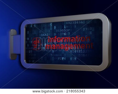 Information concept: Information Management and Head With Gears on advertising billboard background, 3D rendering