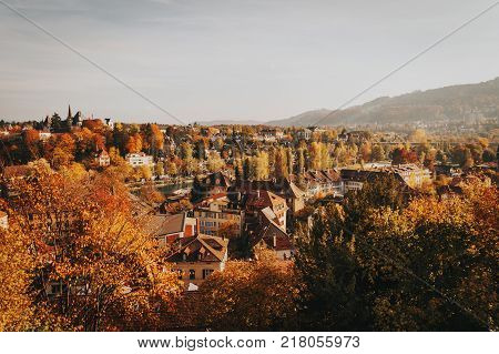 View of the Old City of Bern with the bridge Untertorbryukke over Aare river. Berne Switzerland