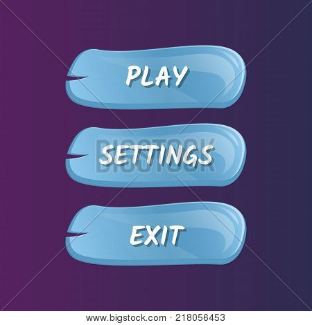 Blue options selection windows set in cartoon style. Play, settings and exit buttons. Bright GUI design isolated vector illustration