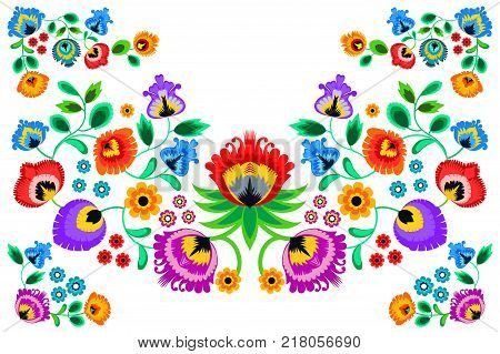 Folk embroidery ornament with flowers. Traditional polish pattern decoration - wycinanka Wzory Lowickie. Vector