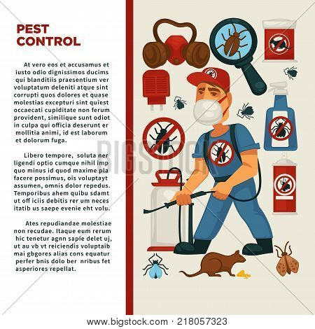 Extermination or pest control service and sanitary domestic disinfection vector flat design poster. Disinfector man with disinfectant liquid or gas spray against mouse rats, cockroaches and mite insects